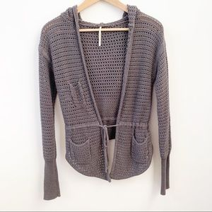 Free People Open Crochet Hooded Cardigan